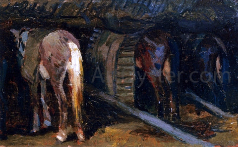 Ruggero Panerai Horses in a Stable - Hand Painted Oil Painting