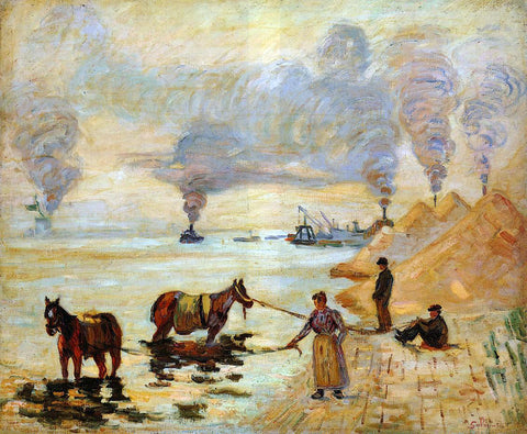 Armand Guillaumin Horses in the Sand at Ivry - Hand Painted Oil Painting