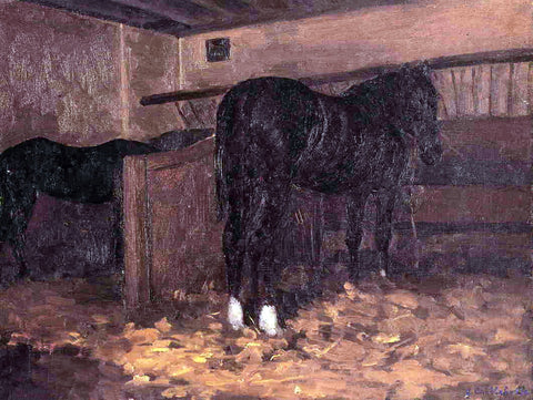 Gustave Caillebotte Horses in the Stable - Hand Painted Oil Painting