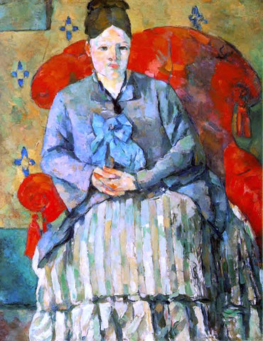 Paul Cezanne Hortense Fiquet in a Striped Skirt - Hand Painted Oil Painting