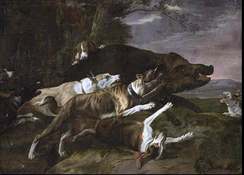 Pieter Boel Hounds Assailing a Boar - Hand Painted Oil Painting