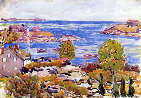 Maurice Prendergast House with Flag in the Cove - Hand Painted Oil Painting