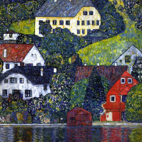 Gustav Klimt Houses at Unterach on the Attersee - Hand Painted Oil Painting