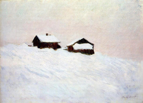 Claude Oscar Monet Houses in the Snow - Hand Painted Oil Painting