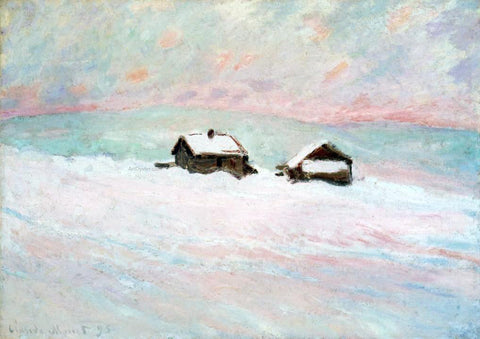 Claude Oscar Monet Houses in the Snow, Norway - Hand Painted Oil Painting