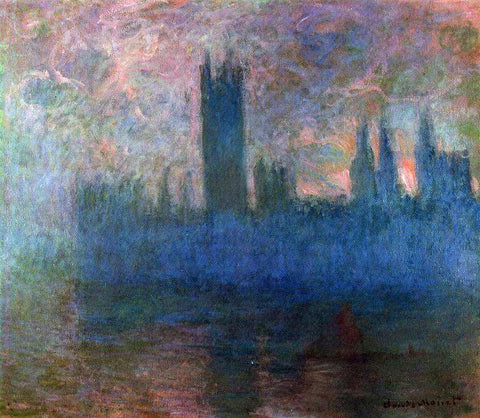 Claude Oscar Monet Houses of Parliament, London, Symphony in Rose - Hand Painted Oil Painting