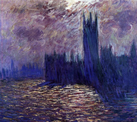 Claude Oscar Monet Houses of Parliament, Reflection of the Thames - Hand Painted Oil Painting