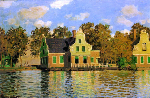Claude Oscar Monet Houses on the Zaan River at Zaandam - Hand Painted Oil Painting