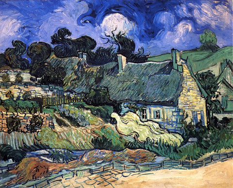 Vincent Van Gogh A House with Thatched Roofs, Cordeville - Hand Painted Oil Painting