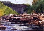 Winslow Homer Hudson River at Blue Ledge, Essex County (also known as The Log Jam) - Hand Painted Oil Painting