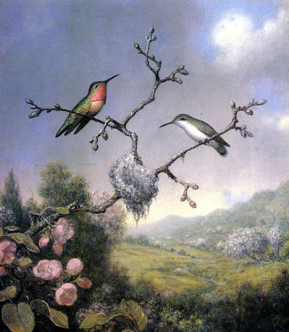 Martin Johnson Heade Hummingbirds and Apple Blossoms - Hand Painted Oil Painting