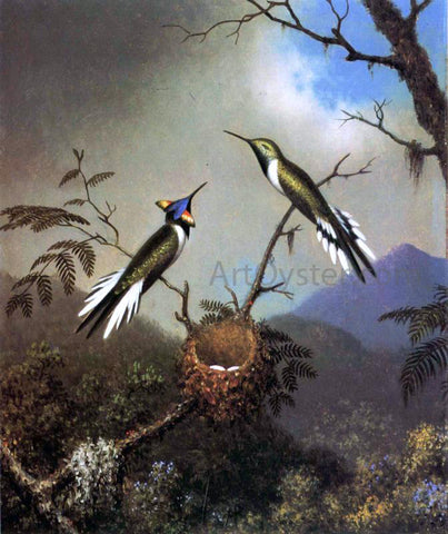 Martin Johnson Heade Hummingbirds at Their Nest - Sun Gems - Hand Painted Oil Painting