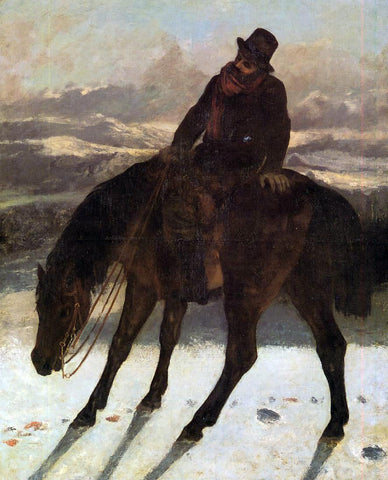 Gustave Courbet Hunter on Horseback, Redcovering the Trail - Hand Painted Oil Painting