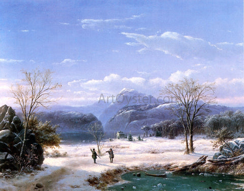 Louis Remy Mignot Hunters in a Winter Landscape - Hand Painted Oil Painting