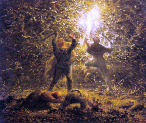 Jean-Francois Millet Hunting Birds at Night - Hand Painted Oil Painting
