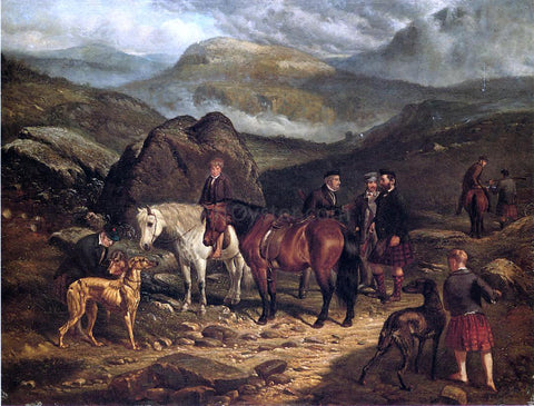Arthur Fitzwilliam Tait Hunting on the Scottish Highlands - Hand Painted Oil Painting