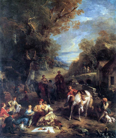 Francois Lemoyne Hunting Picnic - Hand Painted Oil Painting