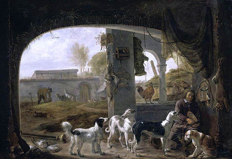Cornelis Saftleven Huntsman Feeding His Dogs - Hand Painted Oil Painting