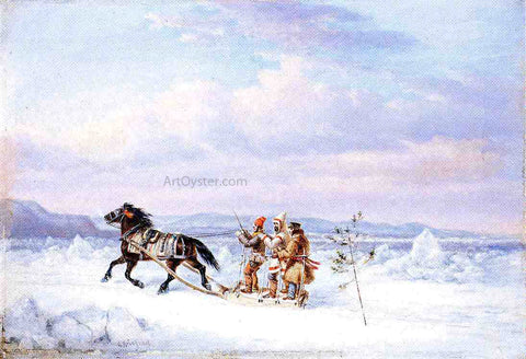 Cornelius Krieghoff Huntsmen in Horsedrawn Sleigh - Hand Painted Oil Painting