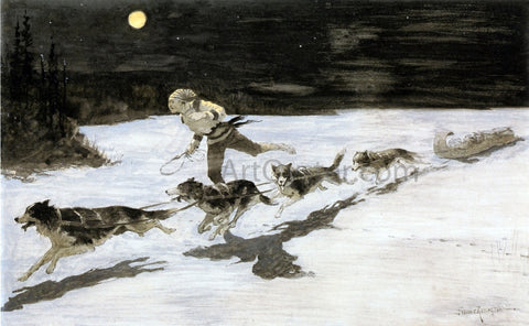 Frederic Remington Huskie Dogs on the Frozen Highway (also known as Talking Musquash) - Hand Painted Oil Painting