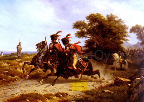 Hippolyte Bellange Hussards Escortant Napoleon - Hand Painted Oil Painting