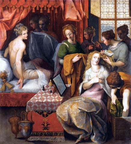 Toussaint Dubreuil Hyanthe and Clymene at their Toilette - Hand Painted Oil Painting