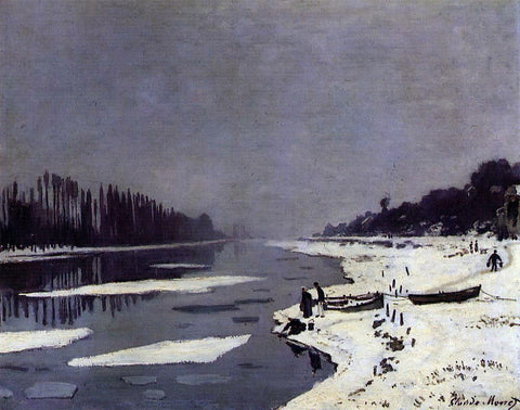Claude Oscar Monet Ice Floes on the Seine at Bougival - Hand Painted Oil Painting