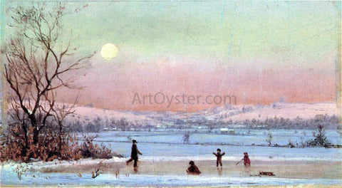 Jervis McEntee Ice Skating near Hudson - Hand Painted Oil Painting