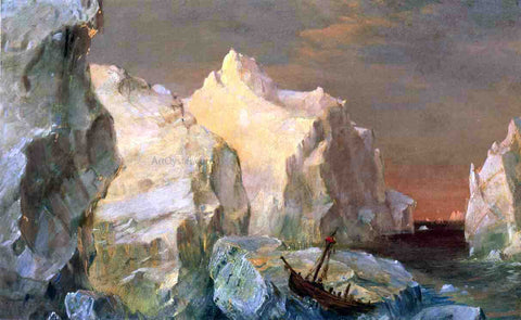 Frederic Edwin Church Icebergs and Wreck in Sunset (also known as Study for the Icebergs) - Hand Painted Oil Painting