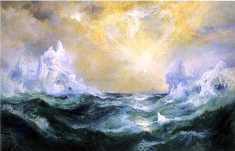 Thomas Moran Icebergs in Mid-Atlantic - Hand Painted Oil Painting