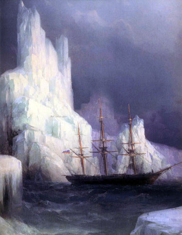 Ivan Constantinovich Aivazovsky Icebergs in the Atlantic (detail) - Hand Painted Oil Painting