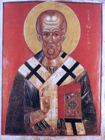 Unknown Painters Masters Icon of St Nicholas - Hand Painted Oil Painting