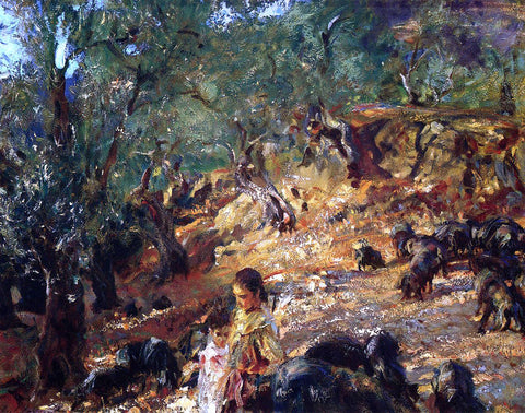John Singer Sargent Ilex Wood at Majorca with Blue Pigs - Hand Painted Oil Painting