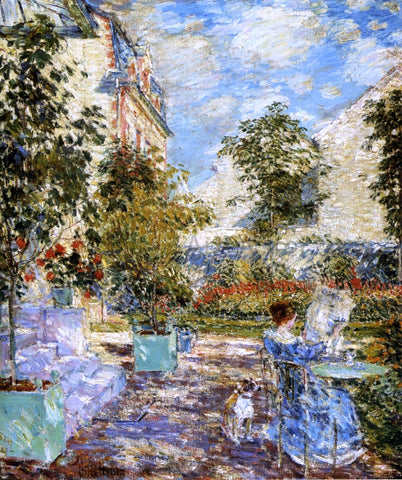 Frederick Childe Hassam In a French Garden - Hand Painted Oil Painting