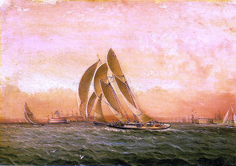 James E Buttersworth In Full Sail, New York Harbor - Hand Painted Oil Painting