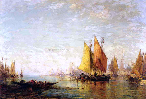 Felix Ziem In Harbor - Hand Painted Oil Painting