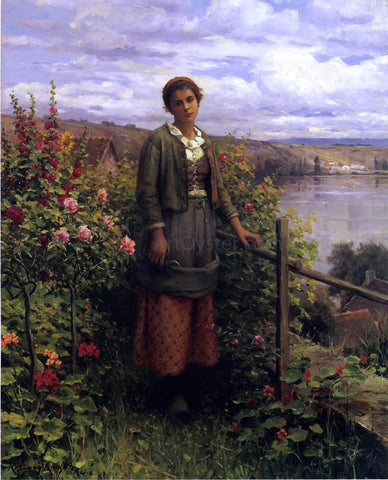 Daniel Ridgway Knight In Her Garden - Hand Painted Oil Painting