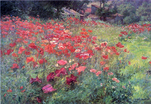 John Ottis Adams In Poppyland - Hand Painted Oil Painting