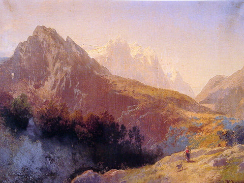 Herman Herzog In the Alps - Hand Painted Oil Painting