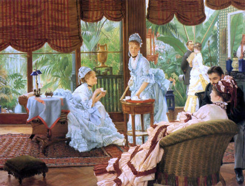 James Tissot In the Conservatory (also known as The Rivals) - Hand Painted Oil Painting