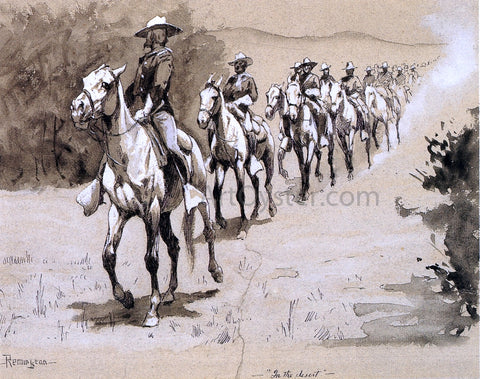 Frederic Remington In the Desert - Hand Painted Oil Painting