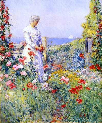 Frederick Childe Hassam In the Garden (also known as Celia Thaxter in Her Garden) - Hand Painted Oil Painting