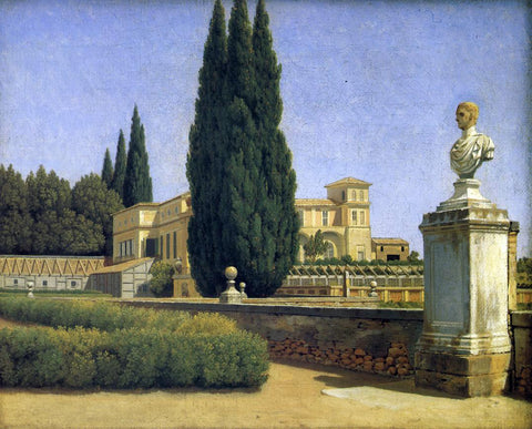 Christoffer Wilhelm Eckersberg In the Gardens of the Villa Albani - Hand Painted Oil Painting