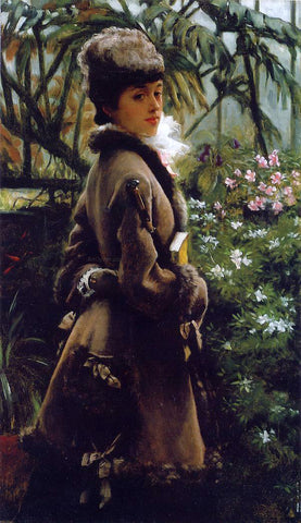 James Tissot In the Greenhouse - Hand Painted Oil Painting