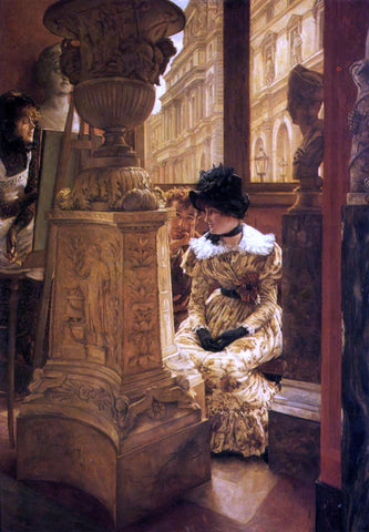 James Tissot In the Louvre - Hand Painted Oil Painting