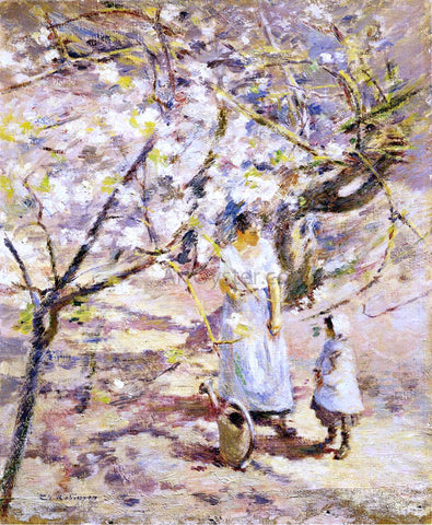Theodore Robinson In the Orchard - Hand Painted Oil Painting