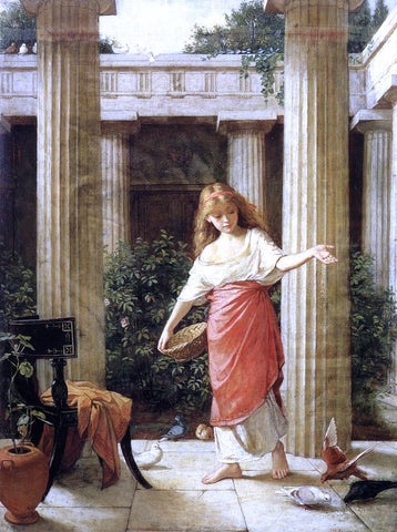 John William Waterhouse In the Peristyle - Hand Painted Oil Painting