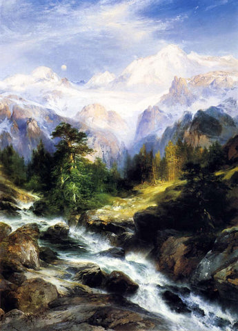 Thomas Moran In the Teton Range - Hand Painted Oil Painting