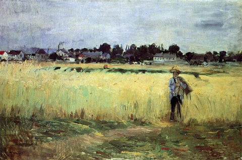 Berthe Morisot In the Wheat Fields at Gennevilliers - Hand Painted Oil Painting