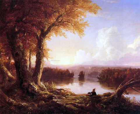 Thomas Cole Indian at Sunset - Hand Painted Oil Painting